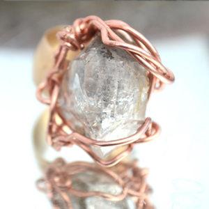 Herkimer Diamond Quartz Crystal Copper Ring 9